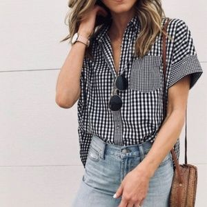 Madewell Button Down Gingham Top
